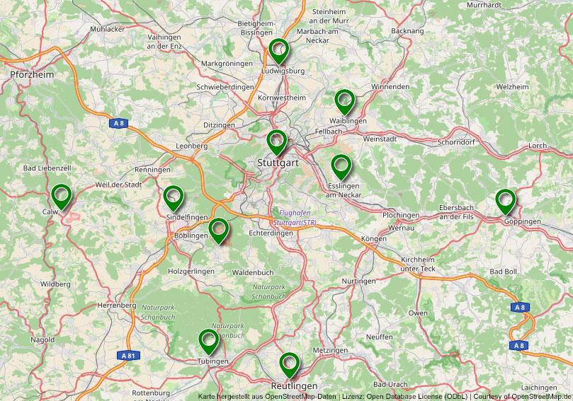 Übersicht Karte Standorte